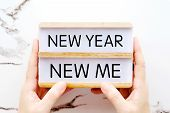 New Year New Me, New Year Positive Quotation On Wood Box, New Year Motivation, Inspiration poster