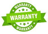 Warranty Ribbon. Warranty Round Green Sign. Warranty poster