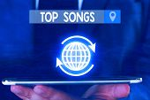 Text Sign Showing Top Songs. Conceptual Photo Recorded Song That Becomes Broadly Popular Or Wellknow poster