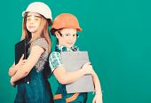 Home Improvement. Builder Engineer Architect. Future Profession. Kids Girls Planning Renovation. Ini poster