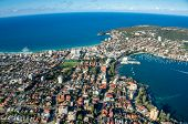 Residential Urban District With Ocean Beaches And Lagoon. Cityscape Aerial View Of Sydney Suburbs. R poster