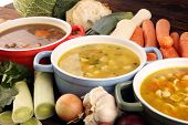 Set Of Three Soups From Worldwide Cuisines, Healthy Food. Broth With Noodles, Beef Soup And Broth Wi poster