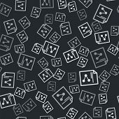 Grey Share File Icon Isolated Seamless Pattern On Black Background. File Sharing. File Transfer Sign poster