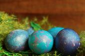 Space Galactic Blue Easter Eggs In Nest poster