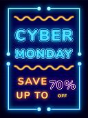 Promotion Save Up To 70 Percent Cyber Monday. Neon Lights On Advertising Board For Shopping. Creativ poster