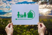 Save World Ecology Concept Environmental Conservation With Hands Holding Cut Out Paper Earth Loving  poster
