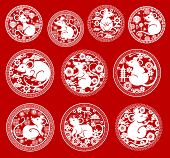 Chinese New Year Rat Vector Icons. Mouse Papercut Symbols Of Animal Zodiac Or Horoscope, Asian Lante poster