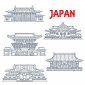 Japanese Travel Landmark Vector Icons. Shingon Buddhist Temple Gokoku-ji, Imperial Shrine Of Yasukun poster