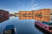 Wide Shot Of The Albert Dock In Liverpool And The Museum Of Liverpool. Boats Moored In The Foregroun poster