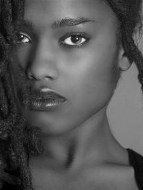 pic of afro hair  - Lovely Closeup of beautiful Black woman on grey - JPG