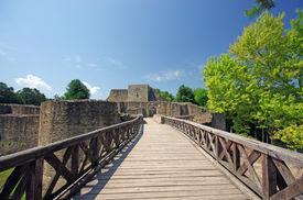 stock photo of suceava  - A romanian legendary fortress Suceava wall ruins - JPG