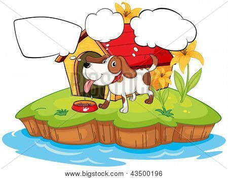 Ilustração de um animal de estimação de pensamento ao lado da sua casinha de cachorro