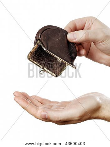 Man holding an empty change coin purse.