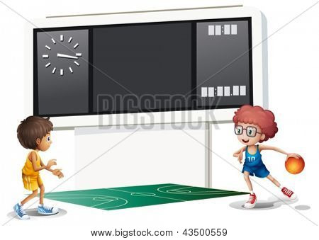 Illustration of the two boys playing basketball in a court with a scoreboard on a white background