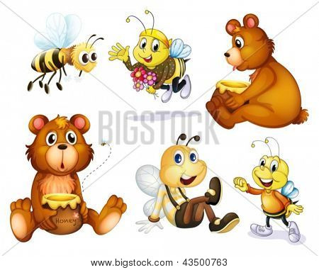 Illustration of the two bears and four bees on a white background