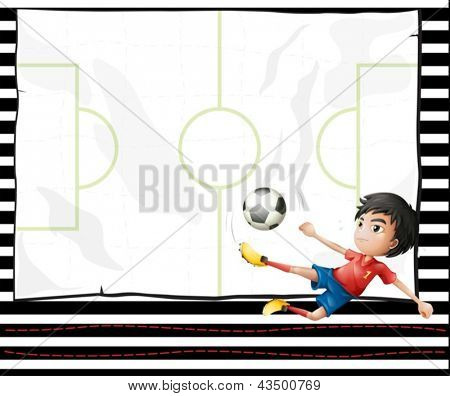 Illustration of a boy playing football and an emtpy stationery