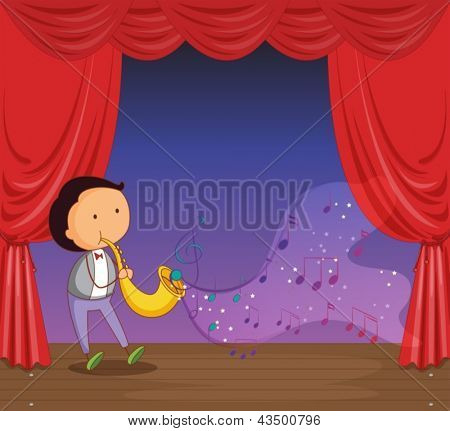 Illustration of a man performing on stage with musical notes