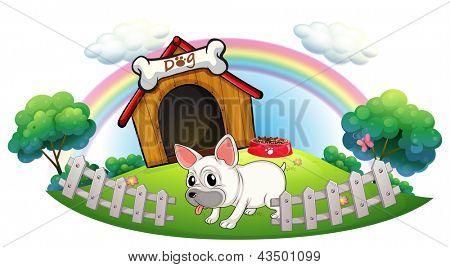 Ilustração de um cão em uma casinha de cachorro com cerca de