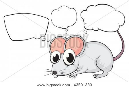 Illustration of a white mouse with empty callouts on a white background