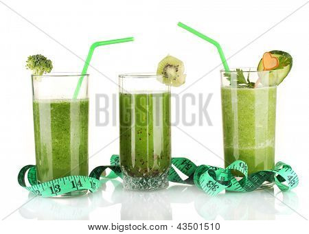 Three kinds of green juice isolated on white