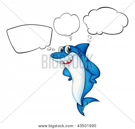 Illustration of a blue shark with empty callouts on a white background