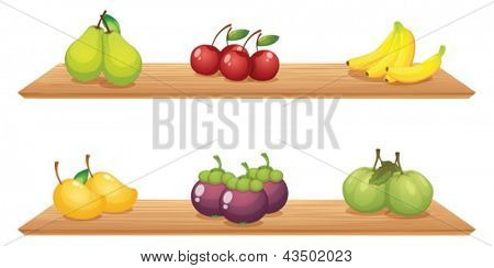 Illustration of the six different kinds of fruits in the wooden shelves on a white background