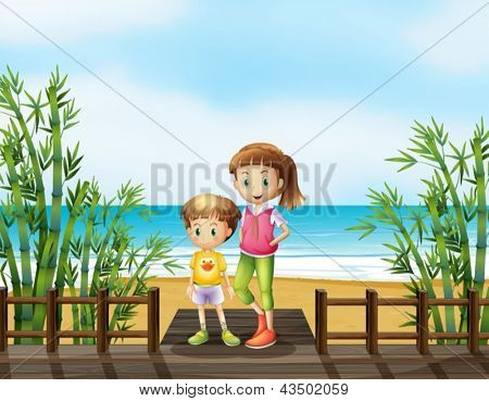 Illustration of a young boy and a girl at the bridge near the beach
