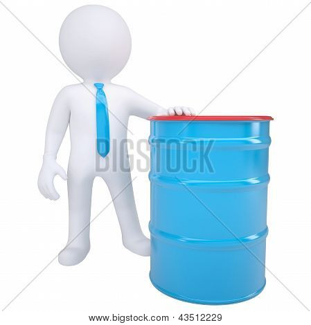 3d white man and a blue barrel
