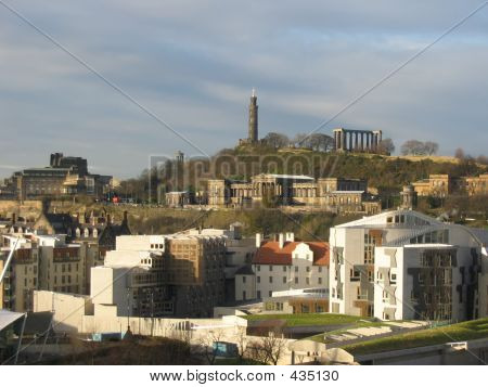 Scottish Parliament And Calton Hill, Edinburgh