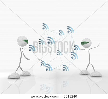 cyber wifi network with two futuristic characters