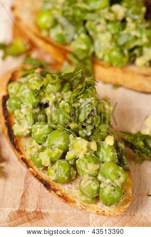 Tasty Bruschetta With Green Vegetables