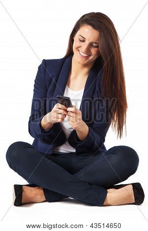 Young Business Woman Sitting By Sending A Message On White Background