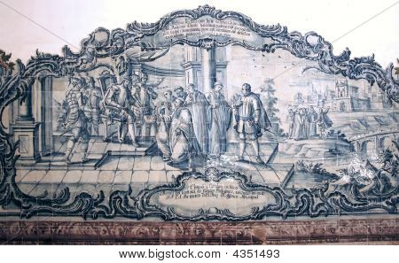 Portugal, Alcobaca: Monastery Of Alcobaça, Azulejo