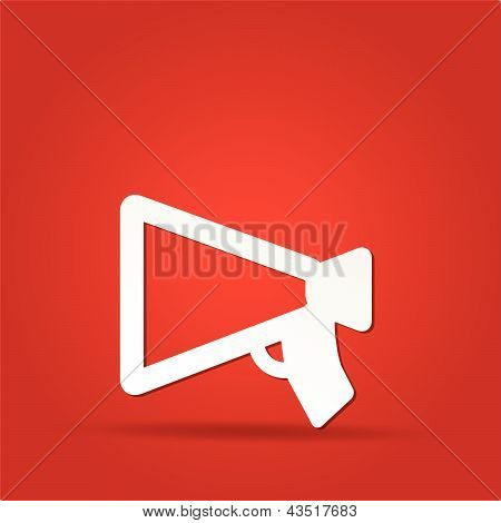 loudspeaker as announcement icon isolated on red