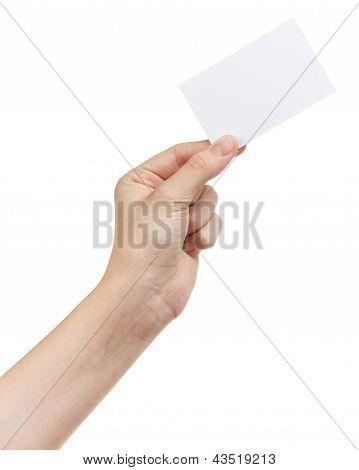 Female Teen Hand Holding Blank Card