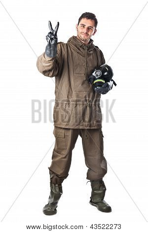 Smiling Man In Hazard Suit