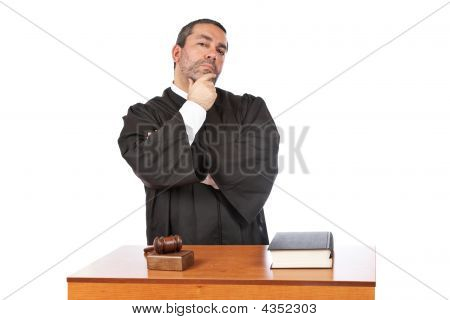 Serious Male Judge Thinking