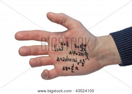 Crib Written On A Student's Hand