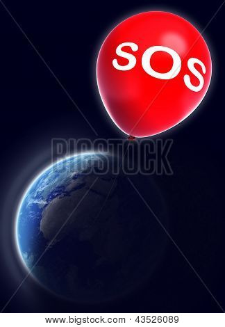 Save Earth Sign On Red Balloon