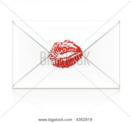 White Envelope With Kiss Stamp Of Red Pomade