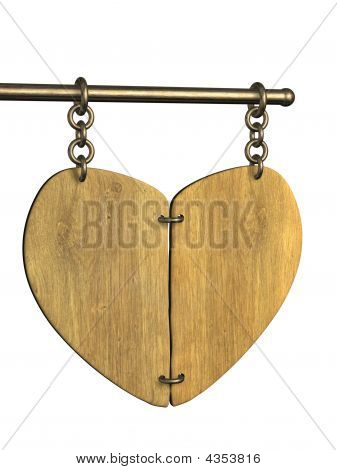 3D Wooden Signboard In The Form Of Heart