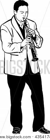 sketch of a musician playing the saxophone soprano