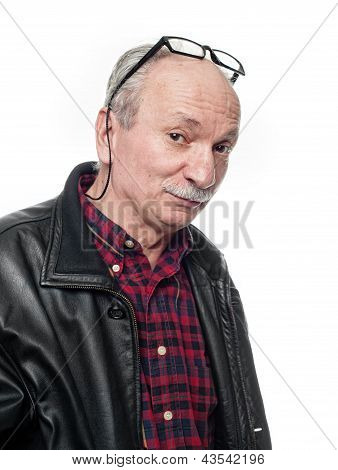 Skeptical Elderly Man With Glasses