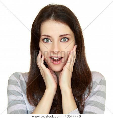 Surprising Casual Woman Holding Hands At Face With Opened Mouth Isolated
