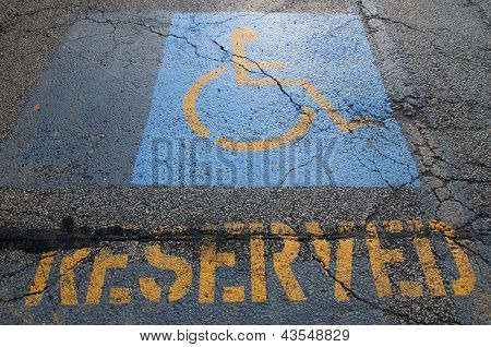 Handicapped Reserved Parking Showing Cracks