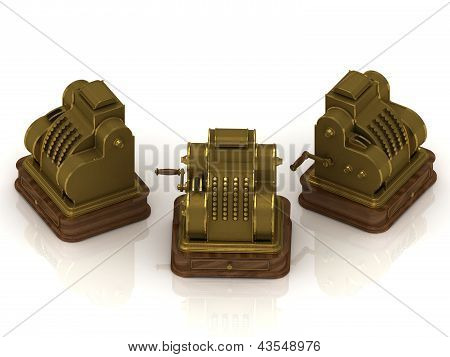 Three Old Gold-plated Cash Registers