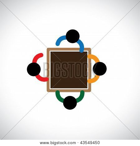 Graphic- Team Of Employer Or Office Staff Or Workers In A Meeting