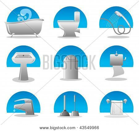 bathroom and toilet web icon set