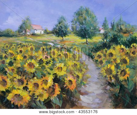 Painted Sunflowers Field