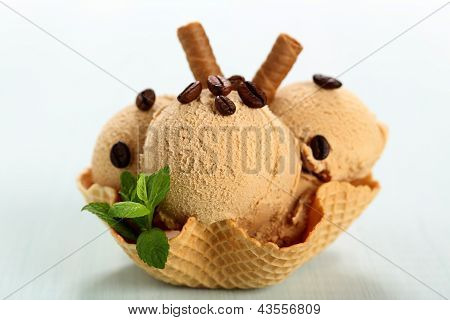 coffee ice cream on waffel cup